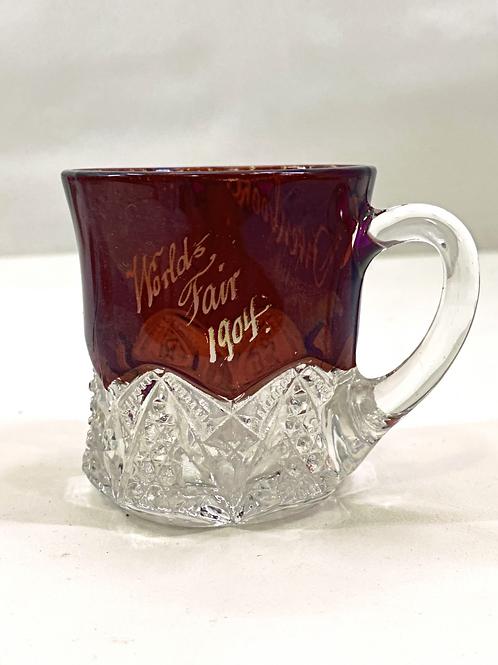1904 Worlds Fair Ruby Red Souvenir Glass