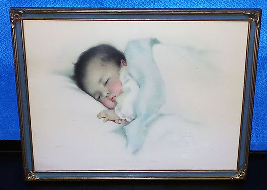 1940s Hand Color Picture Of A Baby - Art Deco Picture Frame