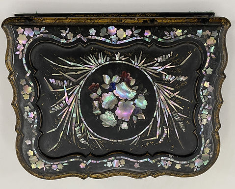 19th Century English Papier Mache Slope Box with Mother of Pearl Inlay