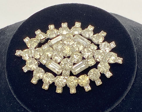 Brooch with Baguette and Round Clear Rhinestones