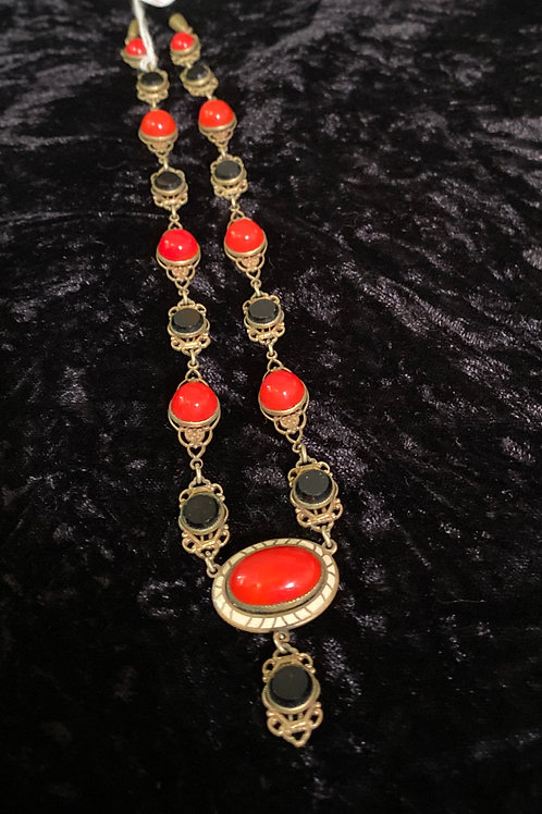Art Deco Lipstick Red and Jet Black Beaded Necklace
