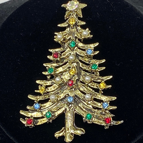 Christmas Tree Brooch with Faux Pearl and Multi Colored Rhinestones