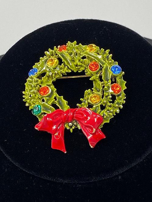 Art Signed Christmas Wreath Rhinestones on Enamel Painted Brooch
