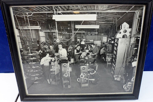 Manufacturing Airplane Line Photo Black and White, Framed