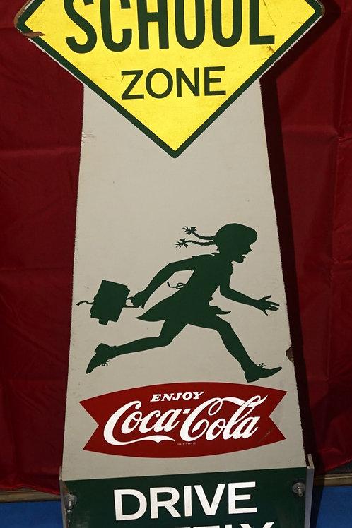 Free Stand Coca-Cola Sign - Slow School Zone
