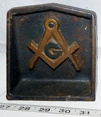 Cast Iron Masonic Bookends