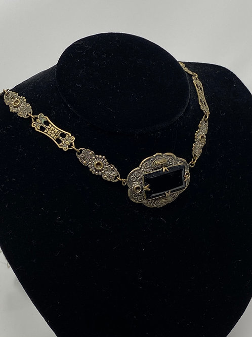 Art Deco Black Glass and Brass Link Necklace