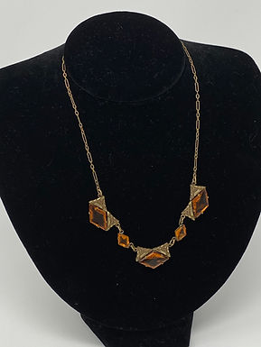 Art Deco Diamond Cut Faceted Amber Glass Stone Necklace