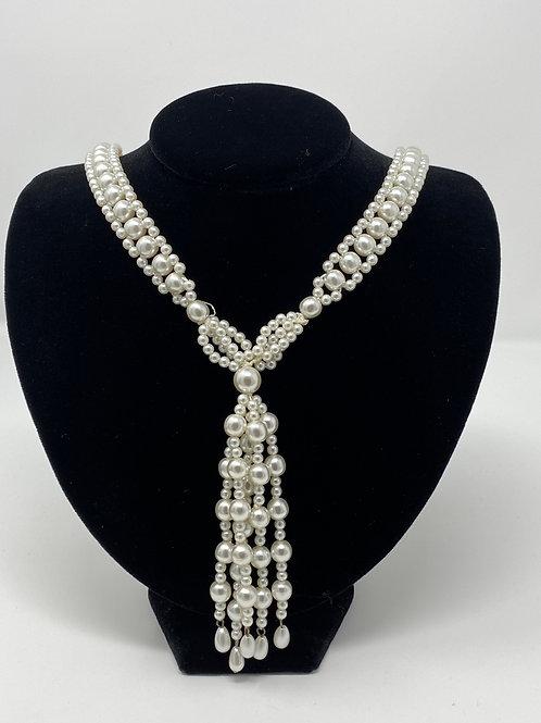 Vintage Woven Faux Pearl Fringe Tassel Necklace