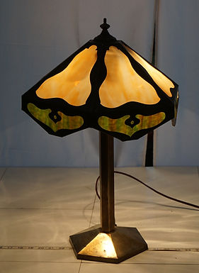 Arts and Crafts Table Lamp With Slag Glass Shade Ca 1900s