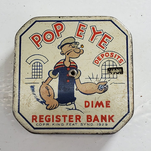 Popeye Dime Register Bank Tin
