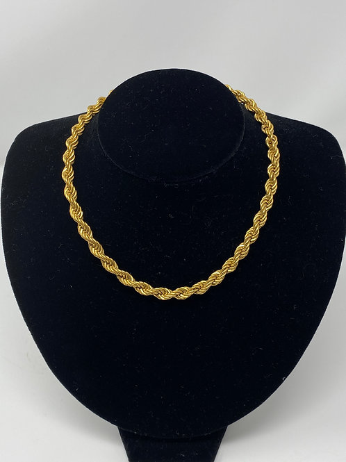 70-80s Twisted Rope Necklace 15""