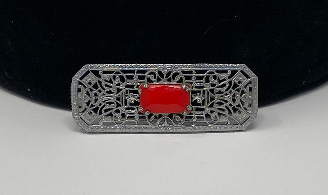 Victorian Style Filigree Design Work Red Glass Stone