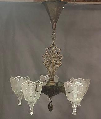 Art Deco Light Fixture 1930s with slip shades