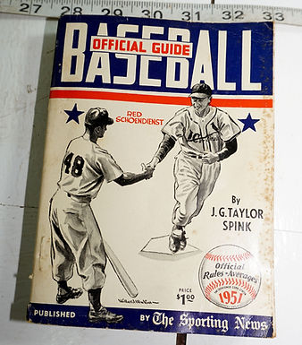 1951 Baseball Official Guide - Official Rules And Averages