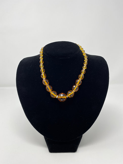 Amber Sunburst Crystal Faceted Bead Necklace