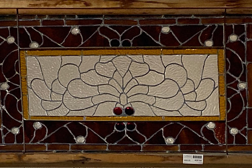 Ca 1900s Stained Glass Window with Jewels