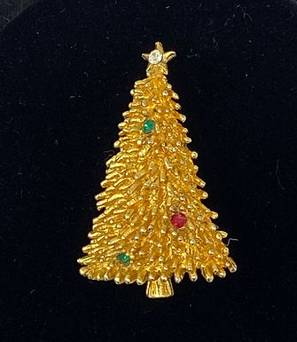 ROMA Signed Rhinestone Christmas Tree Pin