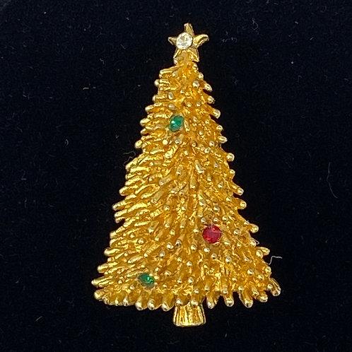 ROMA Signed Rhinestone Christmas Tree Pin