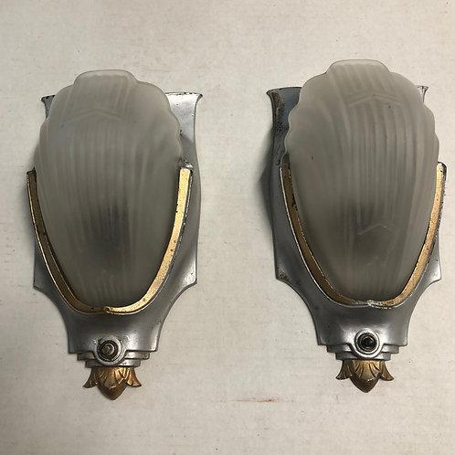 Pair of Art Deco Slip Shade Sconces