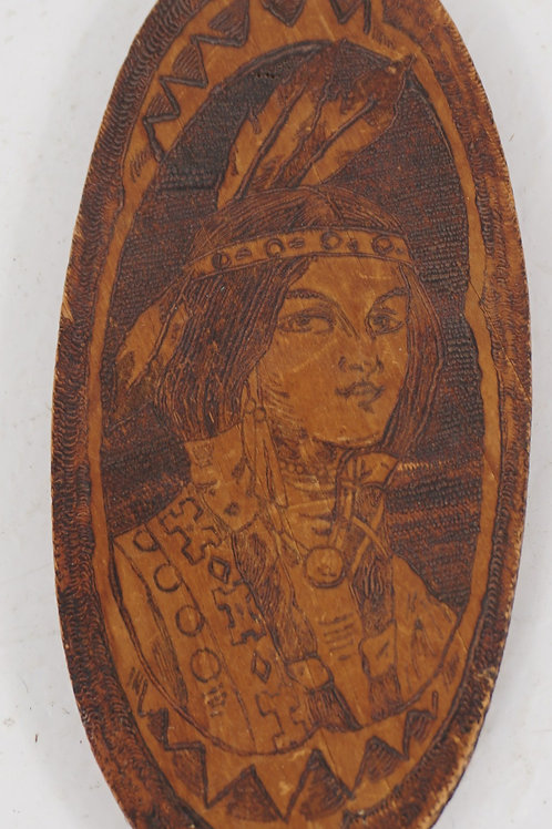 Pyrography Art - Wood Plaque Of Native American Girl