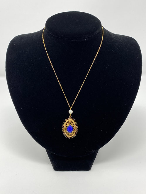Gold Tone Necklace with Blue Stone