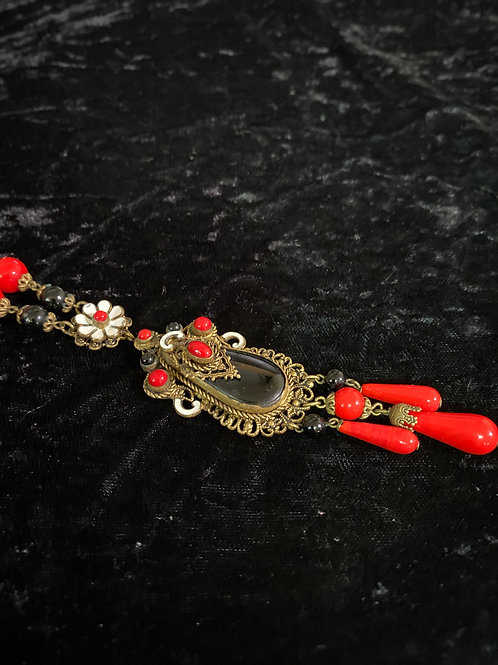 Necklace with Glass Beads Dangling Flower and Scrolls