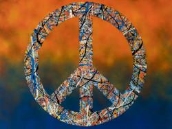 Peace Drip on Orange & Blue