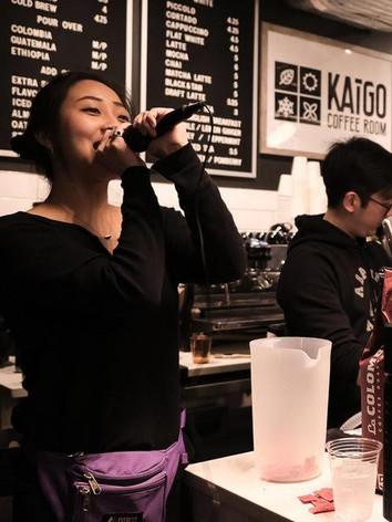 MC-ing at Kaigo Coffee Room's 2019 Throwdown