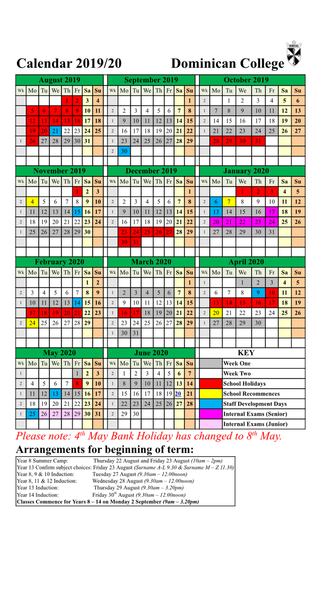 School Calendar - Change to May Day Bank Holiday