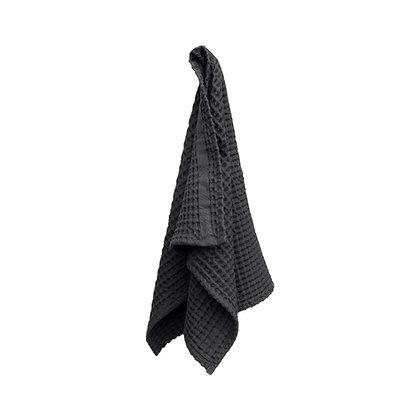 The Organic Company Handtuch aus Waffel Piqué Dark Grey