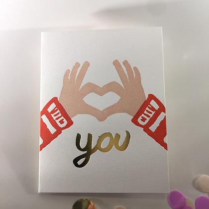 1973 Heart you Letterpress Karte