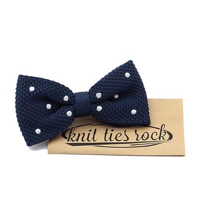 Knit Ties Rock blaue Polka Bow