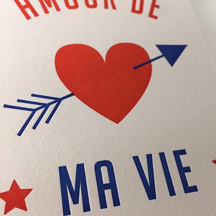 1973 Amour de ma Vie Letterpress Karte