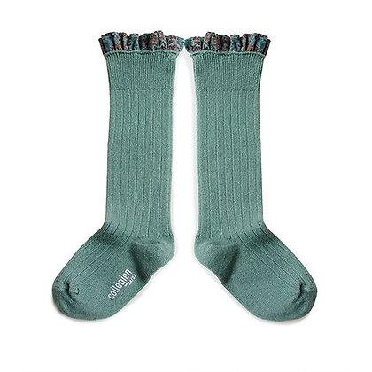 Collégien Liberty Ruffle Knee-High Socks (No.748 Céladon)