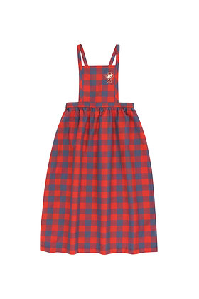 Tiny Cottons Small Checked 'Cat' Braces Long Dress (Burgundy/Dark Lilac)