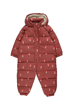 Tiny Cottons 'Mushrooms' Padded One-Piece (Dark Brown/Red)