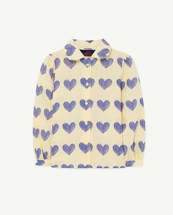 The Animals Observatory Gadfly Kids Blouse (Yellow Hearts)