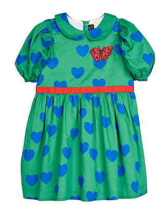 Mini Rodini Hearts Woven Dress (Green)