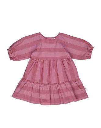 Huxbaby Stripe Tiered Dress (Midnight Rose)
