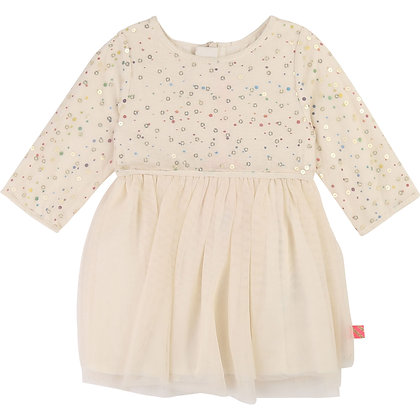Billieblush Baby Metallic Printed Dress (Cream)