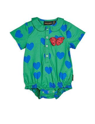 Mini Rodini Hearts Woven Body (Green)