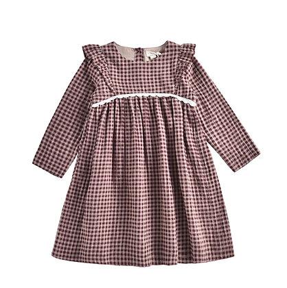 Louise Misha Alaka Dress (Aubergine Vichy)