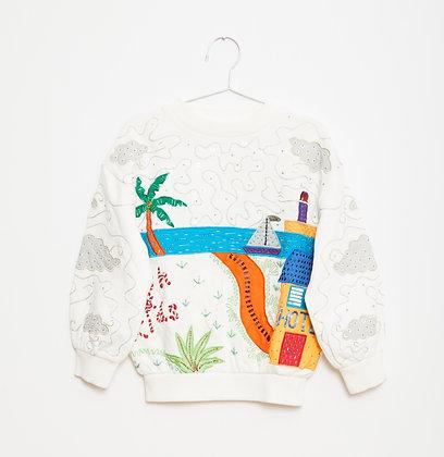 Fish & Kids Handmade Embroidered Sweatshirt (White)
