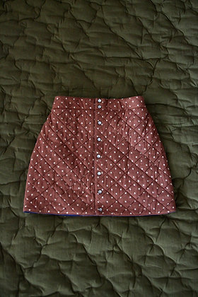 Bonjour Diary Quilted Skirt (Ecru Dots on Brown Jersey)