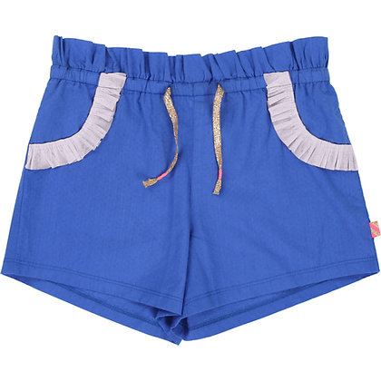 Billieblush Woven Shorts with Mesh Trim On Pockets (Blue)
