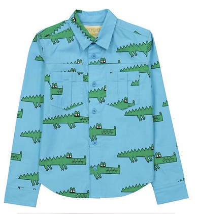 HUGO LOVES TIKI BLUE CROCODILE COLLARED SHIRT
