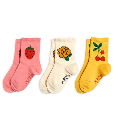 Mini Rodini Cherry and Co 3 Pack Socks (Multi)