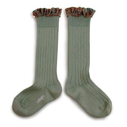 Collégien Liberty Ruffle Knee-High Socks (No. 188 Sauge)