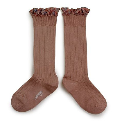 Collégien Liberty Ruffle Knee-High Socks (No.875 Praline de Lyon)